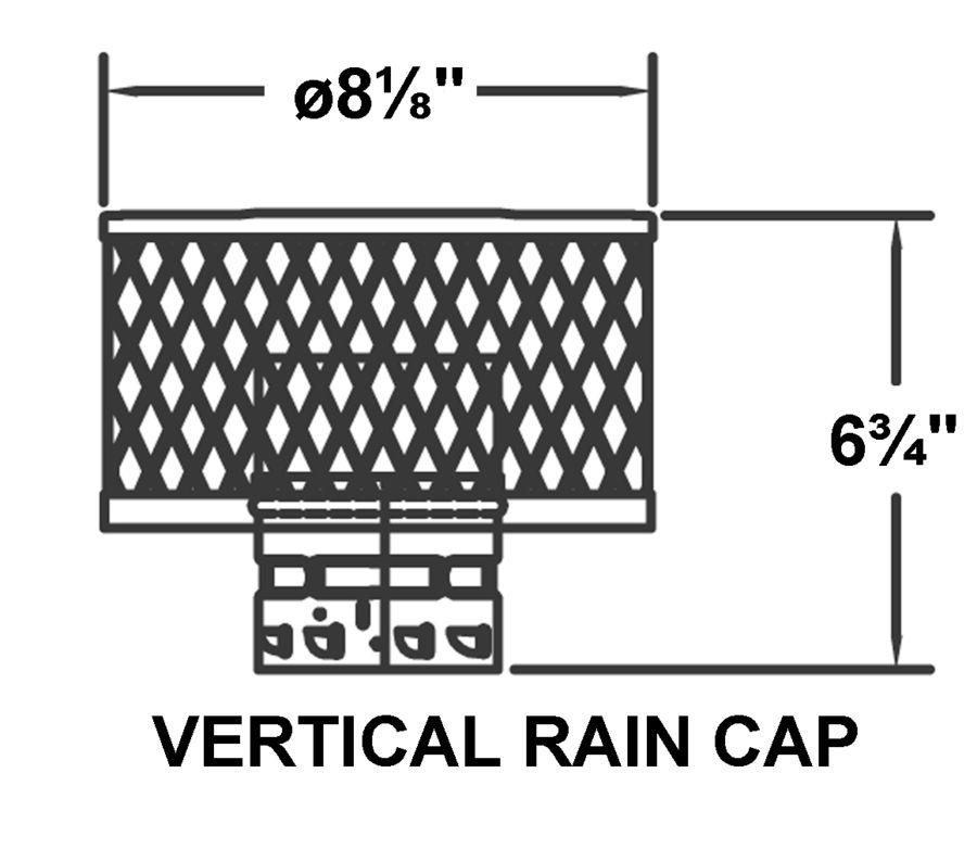 Av psv c pv vertical rain cap drawing