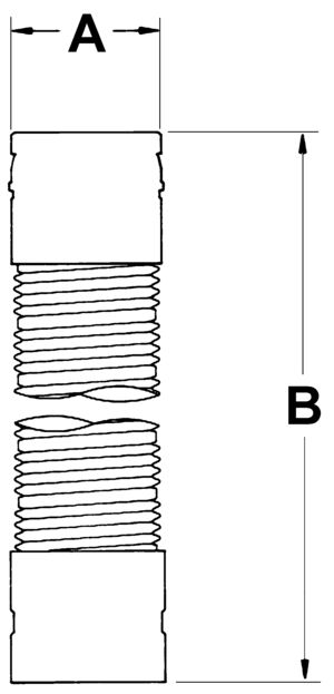 AV_FC_VC line drawing single-wall gas vent connector
