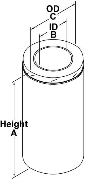 Model TLC All-Fuel Chimney Length - Line Drawing
